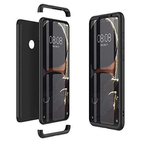 Winhoo Kompatibel mit Xiaomi Redmi Note 7 Hülle Hardcase 3 in 1 Handyhülle 360 Grad Schutz Ultra Dünn Slim Hard Full Body Case Cover Backcover Schutzhülle Bumper - Schwarz