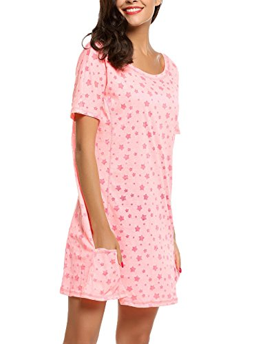 Ekouaer Damen Nachthemd Nachtkleid OAusschnitt Kurzarm Star Print ...