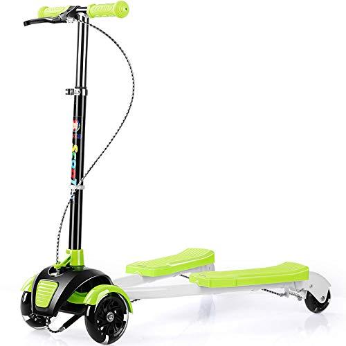 CAR- Children\'s Scooter Kinderroller Kinder-Swing-Roller Mit Griff Verstellbarer Trendy-Roller Mit 3 PU-Rädern Für 3-14-jährige Balance-Auto-Dreirad,Green