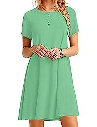 YMING Damen Casual Langes Shirt Lose Tunika Kurzarm T-Shirt Kleid 24 Farbe ,XS 57ea1139fb