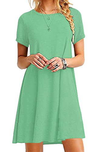 Grüne Damen Light T-shirt (YMING Damen Kleid Kurzarm Tunika Rundhals Lose T-Shirt Kleid Casual Basic Kleid,Hell Grün,XL / DE 42-44)