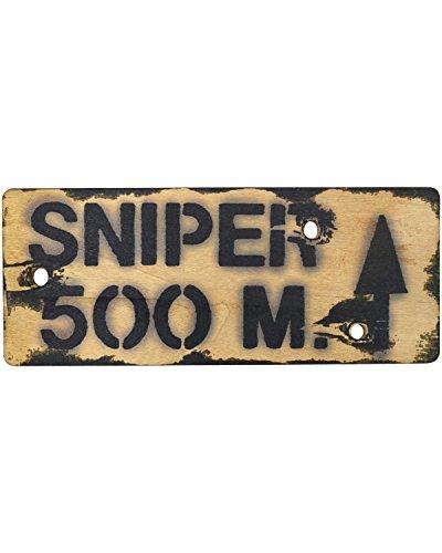 Plaque murale en bois Sniper 500 m militaire Armée Style vintage 29 x 11.5 cm