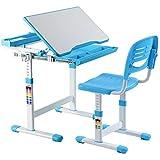 COSTWAY Kinderschreibtisch mit Stuhl Schülerschreibtisch Jugendschreibtisch Kindertisch Schreibtisch Computertisch Bürotisch höhenverstellbar neigbar Farbewahl (Blau)