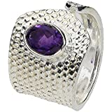 """Ring """"Knob"""" 4-16mm mit einem ovalen, facettierten Amethyst, Sterlingsilber 925"""