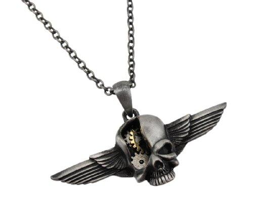 Steampunk Stil geflügelten Totenkopf Zwei Ton Anhänger und Halskette (Aviator-halskette)