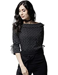STYLE QUOTIENT Women Back with White Polka Dot Stylish Women's Western Wear Top with Tie Up On Sleeves for Office Wear, Casual Wear and Daily Wear Under 500 for Women
