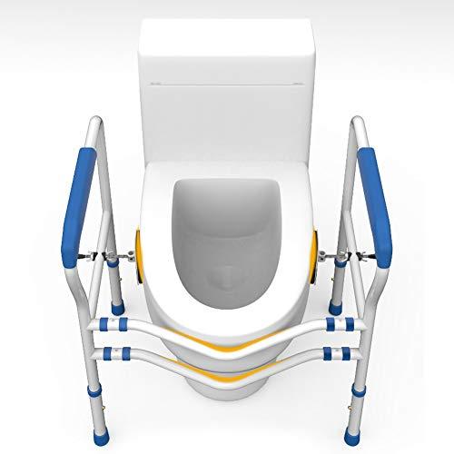 Hzl Toilettengestell, Toiletten Aufstehhilfe Mobile WC Stützhilfe für Senioren, Behinderter oder chirurgischer Patient, verstellbar in Höhe und Breite, Passend für Jede Toilette,Blue