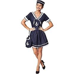 dressforfun Disfraz para mujer de esposa del marinero | Vestido maravilloso con diseño marino | Incl. gorro a juego (XL | no. 301521)