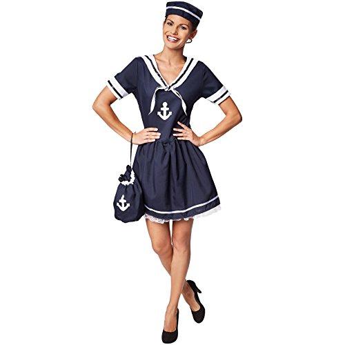 dressforfun Frauenkostüm Seemanns-Frau | Wunderschönes Kleid im Marinelook | Ideales Kostüm für Fasching | Inkl. passendem Hut (XL | Nr. 301521) (Seemann Kostüm Hüte)