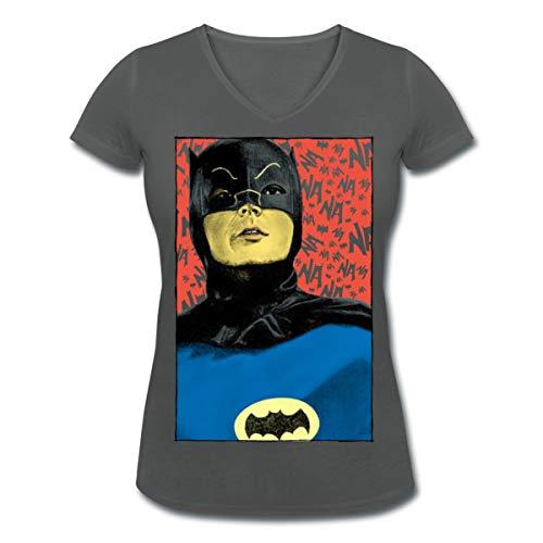 Spreadshirt DC Comics Batman Vintage Kostüm Porträt Frauen Bio-T-Shirt mit V-Ausschnitt von Stanley & Stella, XXL, Anthrazit