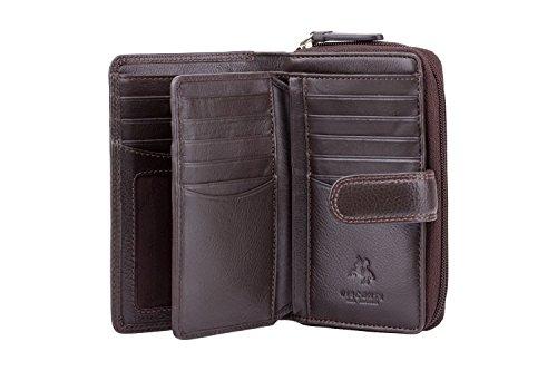 """Visconti portafoglio di pelle da donna a piegatura quadrupla""""Heritage"""" Luxury Leather Purse (HT33): Marrone (Brown)"""