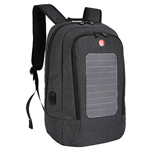 Lis-shan Solar-Laderucksack mit 2000-mAh-Solarpanel, Smartphones, Tablets, Smartwatch + USB/Dual-USB-Anschluss,Black 2000 Mah Mobile