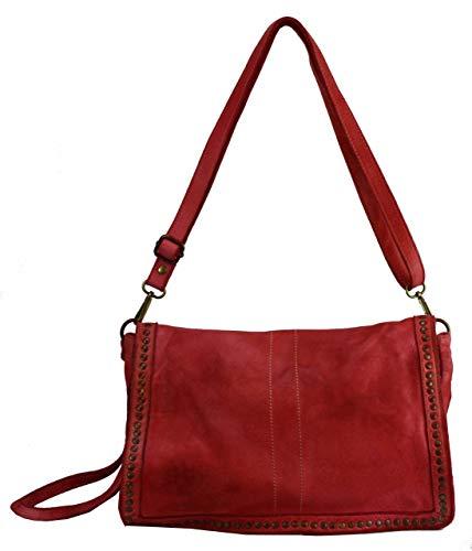 BZNA Bag Gil Rot rosso Italy Designer Clutch Umhängetasche Damen Handtasche Schultertasche Tasche Leder Shopper Neu