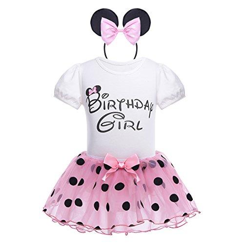 iEFiEL Babykleider Kostüm - Baby Mädchen Kleidung Set Kurzarm-Body Baumwolle Strampler im Kleid Look Rosa 80-86(Herstellergröße: 75)