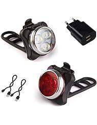 AMANKA Luci per Bicicletta, Set Luce Bici LED Light con 5V/2A Caricabatterie, 350LM, Luci Bici LED di Avvertimento Set Fari Posteriori Combinazioni