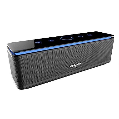 Enceinte Bluetooth Portable, Batterie Externe 10000mAh 26W 4 Haut-Parleurs 24 Heures d'Autonomie Subwoofer Basses Puissantes Contrôle Tactile, étanchéité IPX5/AUX/Micro Carte SD/TF/Microphone, Noir