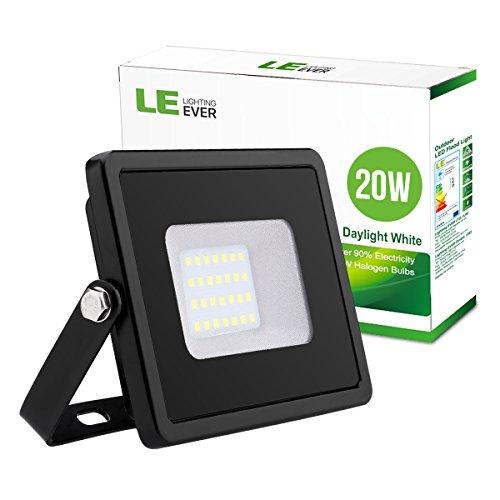 LE Foco LED 20W = 200W halógeno, Resistente al agua, Blanco frío, Proyector LED Exterior, jardines, patios, almacenes, etc