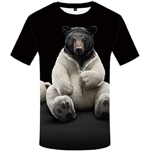 TONGFENGA 3D Digitaldruck Bär T-Shirt Herren T-Shirt Kurzarm Tier Rundhals Herren Kurzarm S-XXXL (Kurzarm-tier)