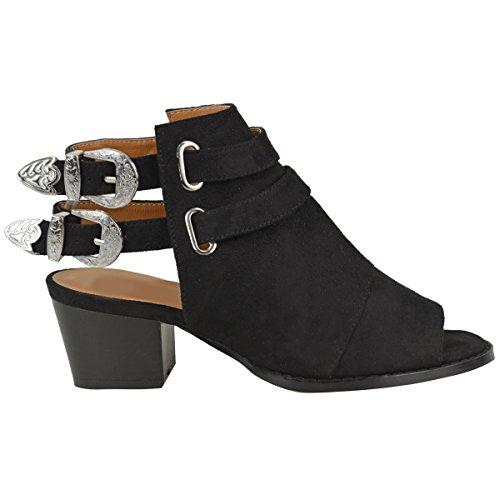 Sandales style bottines - à talons larges/à boucles/style cowboy - femme Faux suède noir/boucle argentée