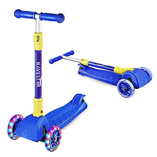 (NAVESTAR Faltbar Kinderscooter Kinder Roller mit 3 leuchtende Räder für Junge Einsteiger ab 3 Jahren, Scooter kann max. 50 kg tragen, lustig und Gleichgewicht zu trainieren)