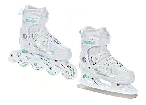 RAVEN 2in1 Schlittschuhe Inline Skates Inliner Spirit White/Mint verstellbar Größe: 40-43 (25cm-27,5cm)