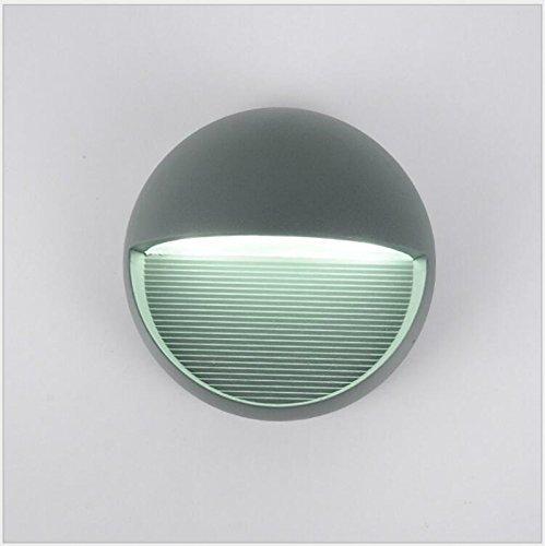 Glighone Applique Murale Extérieur Rond Moderne Étanche IP54 LED 3W En Alliage Aluminium Anthracite Eclairage Lumière Pour Cour Jardin Terrasse Patio Couloir Blanc Froid