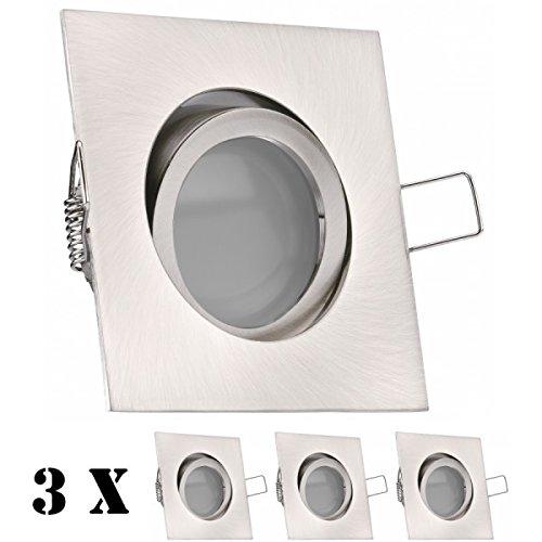 3er LED Einbaustrahler Set Silber gebürstet mit LED GU10 Markenstrahler von LEDANDO - 5W - warmweiss - 120° Abstrahlwinkel - schwenkbar - 35W Ersatz - A+ - LED Spot 5 Watt - Einbauleuchte LED eckig