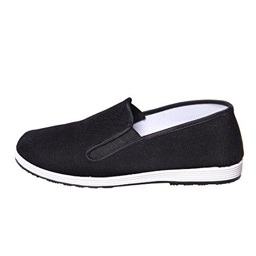 DoGeek Scarpe Kung Fu/Tai Chi Scarpe/Pantofole per Tai Chi, Yoga e Kungfu/Cloth Martial Art Old Pechino scarpe-44 Nero