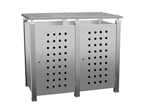 Mülltonnenbox Modell Pacco E Circ10 für zwei 120 ltr. Tonnen in Edelstahloptik