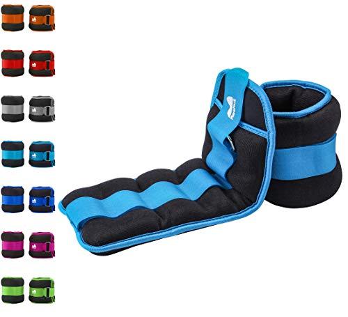 Reehut pesi da caviglia/polso (1 paio) con cinturino regolabile per fitness, esercizio fisico, passeggiate, jogging, ginnastica, aerobica, palestra - cielo blu - 2x1,82kg