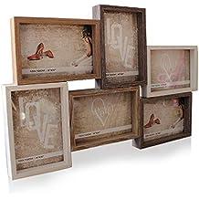 North King Marcos de foto marco de fotos de 6 enrejado combinación retro colgar decoraciones de