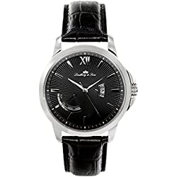 wrist watch for men Lindberg & Sons quartz movement - analog display black leather bracelet and black dial LS15H2