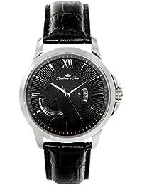 Lindberg & Sons LS15H2 - Reloj pulsera analógico de cuarzo para hombre, correa de cuero negra