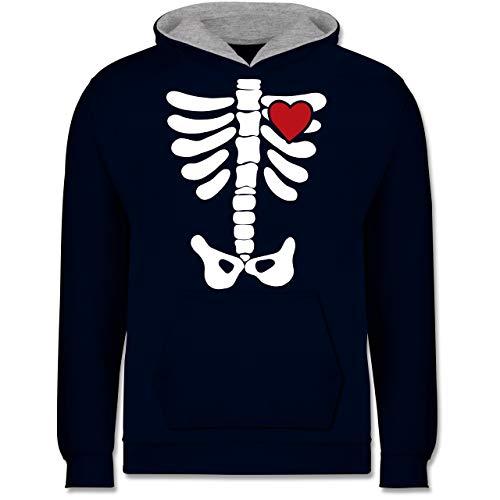 Shirtracer Anlässe Kinder - Skelett Herz Halloween Kostüm - 9-11 Jahre (140) - Navy Blau/Grau meliert - JH003K - Kinder Kontrast ()