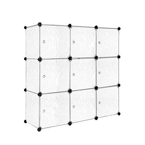 HENGMEI Kleiderschrank DIY Garderobenschrank Steckregalsystem Regalsystem Garderoben mit Weiß-Muster (9 Boxen mit Tür)