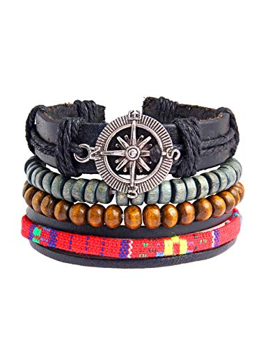 ZIVOM 100% echtes handgefertigtes schwarzes Leder Holz tibetische Perlen Armband Multi Stränge Herren Jungen -