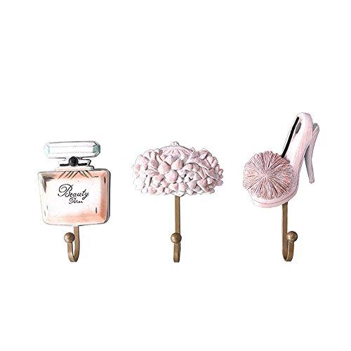 gossipboy 3pcs/1Set Vintage rosa diseño de moda resina de utilidad pared gancho perchero de pared sombrero percha gancho resistente habitación decoraciones ganchos de almacenamiento para cocina baño dormitorio pecho