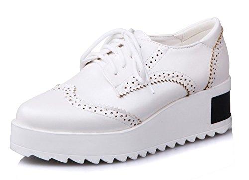 Aisun Senhoras Abanando Resistente Ao Deslizamento Metálico Oxford Planalto Sneaker Branco