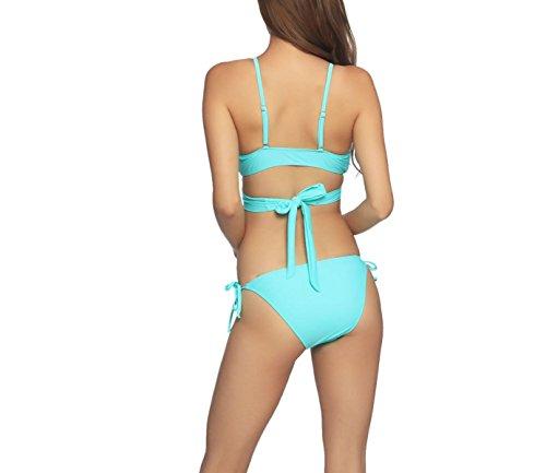 KUWOMINI.Green Verstellbare Schultergurt Zurück Spitze Niedrige Taille Beiden Seiten Schnüren Bikini Weiblich Green