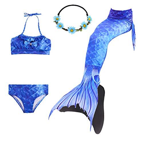 en Meerjungfrau Schwanz Badeanzug - Prinzessin Cosplay Bademode für Das Schwimmen mit Bikini Set,3-12 Jahre alt ()