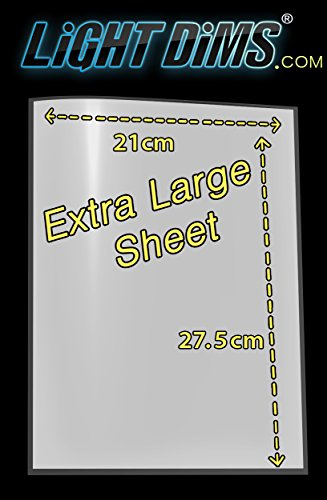 LightDims White Dims Light Dimming / Softening Sheet for Harsh LED Lights, Electronics and Appliances and more. Dims 15-30% of Light, 20cm x 27.5cm Extra Large Size. Test