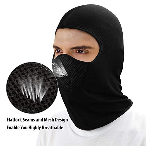 JMD HELMETS Cotton Full Face Balaclava Anti Pollution Mask, Helmet Liner (Black, Free Size)