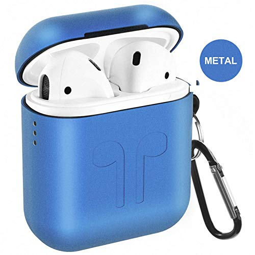 Airpods case,qcoqce airpods cover in metallo,leggero impermeabile antipolvere custodia airpods con protective metal cover silicone e portachiavi per apple airpods (blu)