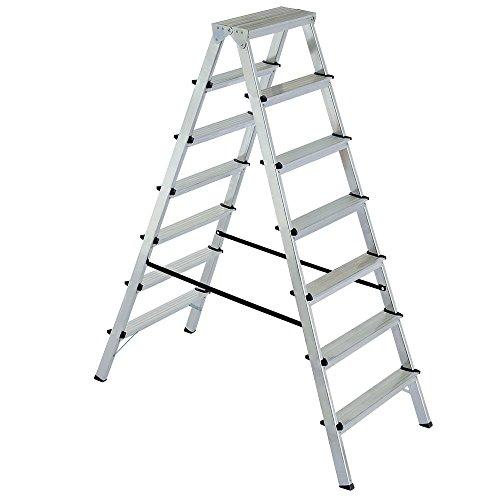 Alu-Klappleiter Doppelleiter Bockleiter Malerleiter Leiter 2x7 Stufen, Arbeitshöhe bis 3515 mm