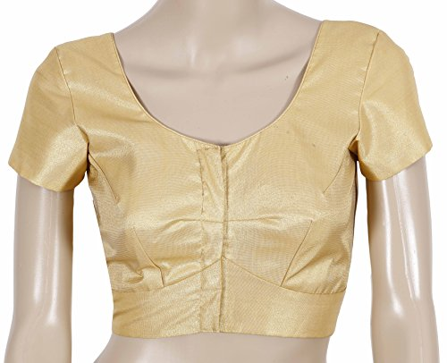 Lavis Readymade Blouse for Women with Half Sleeve & Golden Colour Designer Party wear /Ethnic wear in Tissue Fabric in Sizes 34 inches to 44 inches perfect for Wedding sarees and Silk Sarees