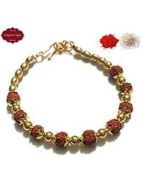 Rakshabandhan Golden Rudraksh Bracelet for Brother by Crazygifters