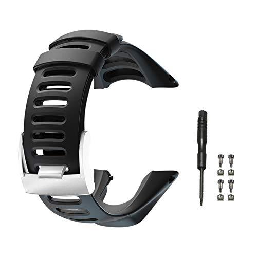Vindar Suunto Ambit Uhrenarmband, weiches schwarzes Gummiarmband Ersatzarmband für Suunto Ambit 1/2 / 2S / 2R / 3 Sport / 3 Run / 3 Peak, Silberner Verschluss, Schraubensätze (Silver Clasp)
