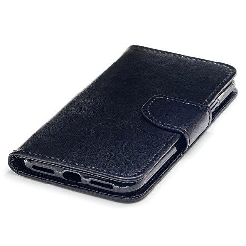 """MOONCASE iPhone X Coque, Durable TPU Support Protection Étuis Case Built-in Card Slots Flip Cuir Housse pour iPhone X 5.8"""" Bleu Noir"""