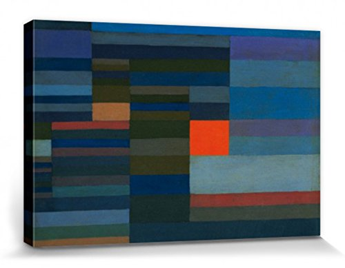 1art1 67047 Paul Klee - Feuer Am Abend, 1929 Poster Leinwandbild Auf Keilrahmen 120 x 80 cm