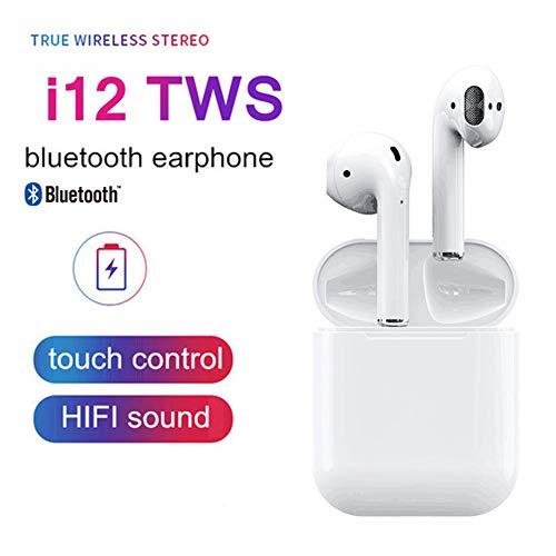 41720326920 Wj Auriculares Bluetooth con micrófono, Mini Bluetooth 5.0 i12 TWS  inalámbrico estéreo reducción de Ruido
